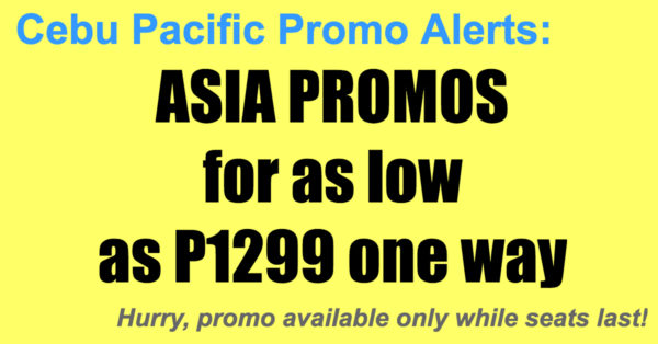 Cebu Pacific Promos Asia Jun-Sept 2018