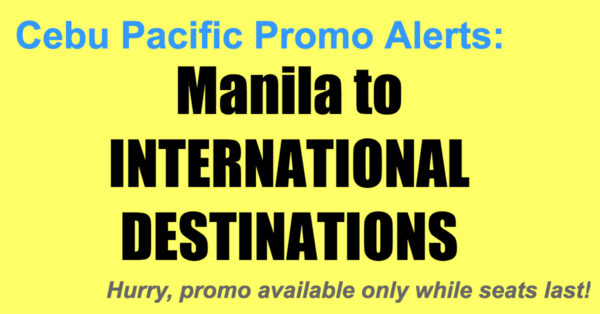 Cebu Pacific Promos Manila International Destinations