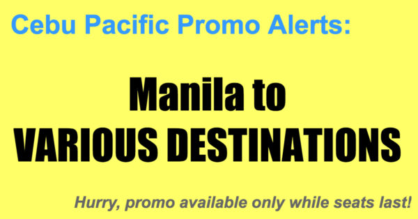 Cebu Pacific Promos Manila Oct-Dec 2017