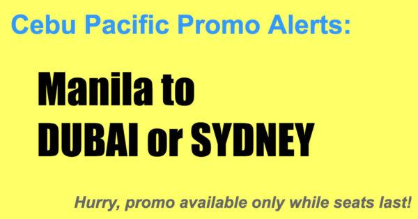 Cebu Pacific Promos Manila Dubai Sydney Jan-May 2018