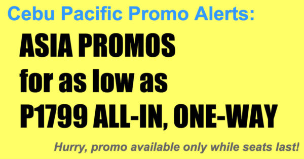 Cebu Pacific Promos Asia Nov 2017-Mar 2018