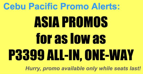 Cebu Pacific Asia Promos Oct-Dec 2017