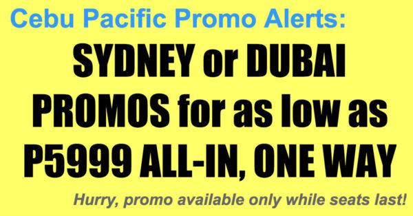 Cebu Pacific Dubai Sydney Promos Oct-Dec 2017