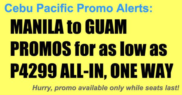 Cebu Pacific Manila Guam Promos Nov 2017-Mar 2018