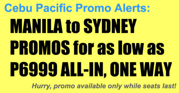 Cebu Pacific Manila Sydney Promos Nov 2017-Mar 2018